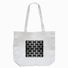 Puzzle1 Black Marble & Silver Brushed Metal Tote Bag (white) by trendistuff