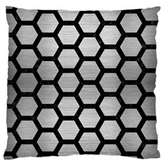 Hexagon2 Black Marble & Silver Brushed Metal (r) Large Cushion Case (two Sides) by trendistuff