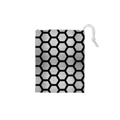 Hexagon2 Black Marble & Silver Brushed Metal (r) Drawstring Pouch (xs)