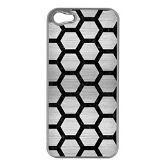 Hexagon2 Black Marble & Silver Brushed Metal Apple Iphone 5 Case (silver) by trendistuff