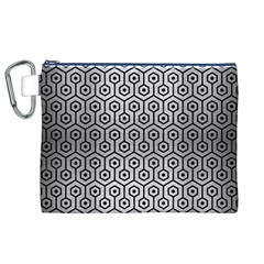Hexagon1 Black Marble & Silver Brushed Metal (r) Canvas Cosmetic Bag (xl) by trendistuff