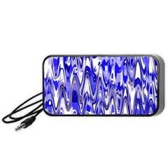 Funky Chevron Blue Portable Speaker (black)  by MoreColorsinLife