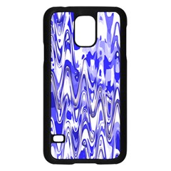 Funky Chevron Blue Samsung Galaxy S5 Case (black) by MoreColorsinLife