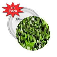Funky Chevron Green 2.25  Buttons (10 pack)  by MoreColorsinLife