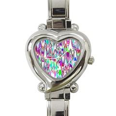 Funky Chevron Multicolor Heart Italian Charm Watch by MoreColorsinLife