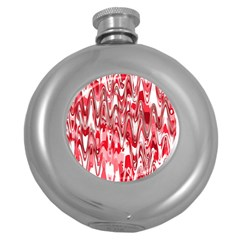 Funky Chevron Red Round Hip Flask (5 oz) by MoreColorsinLife