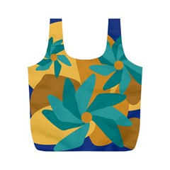 Urban Garden Abstract Flowers Blue Teal Carrot Orange Brown Full Print Recycle Bags (m)  by CircusValleyMall
