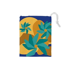 Urban Garden Abstract Flowers Blue Teal Carrot Orange Brown Drawstring Pouches (small)  by CircusValleyMall