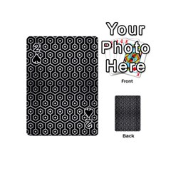 Hexagon1 Black Marble & Silver Brushed Metal Playing Cards 54 (mini)