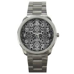 Damask2 Black Marble & Silver Brushed Metal Sport Metal Watch by trendistuff