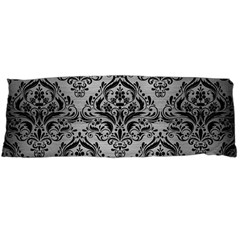Damask1 Black Marble & Silver Brushed Metal (r) Body Pillow Case Dakimakura (two Sides) by trendistuff