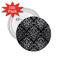Damask1 Black Marble & Silver Brushed Metal 2 25  Button (100 Pack) by trendistuff