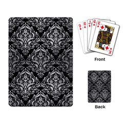 Damask1 Black Marble & Silver Brushed Metal Playing Cards Single Design by trendistuff