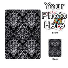 Damask1 Black Marble & Silver Brushed Metal Multi Purpose Cards (rectangle) by trendistuff