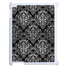 Damask1 Black Marble & Silver Brushed Metal Apple Ipad 2 Case (white) by trendistuff