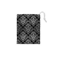 Damask1 Black Marble & Silver Brushed Metal Drawstring Pouch (xs)
