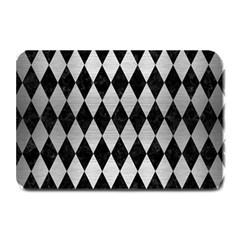 Diamond1 Black Marble & Silver Brushed Metal Plate Mat by trendistuff