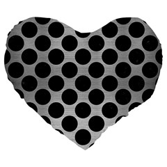Circles2 Black Marble & Silver Brushed Metal (r) Large 19  Premium Flano Heart Shape Cushion by trendistuff