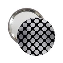 Circles2 Black Marble & Silver Brushed Metal 2 25  Handbag Mirror by trendistuff