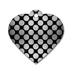 Circles2 Black Marble & Silver Brushed Metal Dog Tag Heart (two Sides) by trendistuff