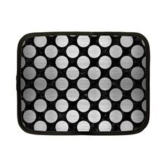 Circles2 Black Marble & Silver Brushed Metal Netbook Case (small) by trendistuff