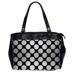 Circles2 Black Marble & Silver Brushed Metal Oversize Office Handbag (2 Sides) by trendistuff