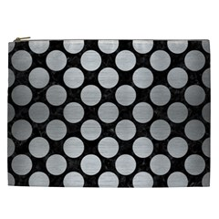 Circles2 Black Marble & Silver Brushed Metal Cosmetic Bag (xxl) by trendistuff