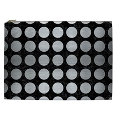 Circles1 Black Marble & Silver Brushed Metal Cosmetic Bag (xxl) by trendistuff
