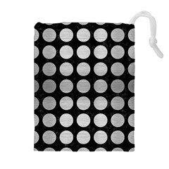 Circles1 Black Marble & Silver Brushed Metal Drawstring Pouch (xl) by trendistuff