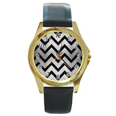 Chevron9 Black Marble & Silver Brushed Metal (r) Round Gold Metal Watch by trendistuff