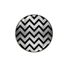Chevron9 Black Marble & Silver Brushed Metal (r) Hat Clip Ball Marker (4 Pack) by trendistuff
