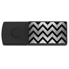 Chevron9 Black Marble & Silver Brushed Metal (r) Usb Flash Drive Rectangular (4 Gb) by trendistuff