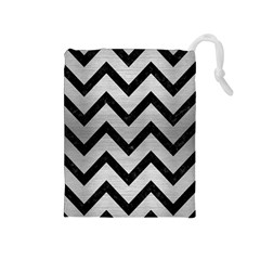 Chevron9 Black Marble & Silver Brushed Metal (r) Drawstring Pouch (medium) by trendistuff