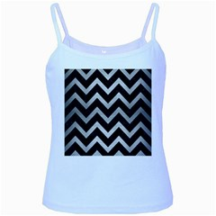 Chevron9 Black Marble & Silver Brushed Metal Baby Blue Spaghetti Tank by trendistuff