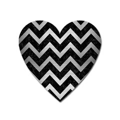 Chevron9 Black Marble & Silver Brushed Metal Magnet (heart) by trendistuff