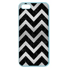 Chevron9 Black Marble & Silver Brushed Metal Apple Seamless Iphone 5 Case (color) by trendistuff