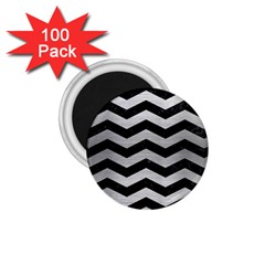 Chevron3 Black Marble & Silver Brushed Metal 1 75  Magnet (100 Pack)  by trendistuff