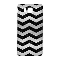 Chevron3 Black Marble & Silver Brushed Metal Samsung Galaxy Alpha Hardshell Back Case by trendistuff