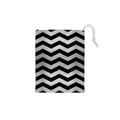 Chevron3 Black Marble & Silver Brushed Metal Drawstring Pouch (xs) by trendistuff