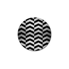 Chevron2 Black Marble & Silver Brushed Metal Golf Ball Marker (10 Pack) by trendistuff