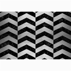 Chevron2 Black Marble & Silver Brushed Metal Collage 12  X 18  by trendistuff