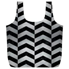 Chevron2 Black Marble & Silver Brushed Metal Full Print Recycle Bag (xl) by trendistuff