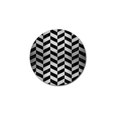 Chevron1 Black Marble & Silver Brushed Metal Golf Ball Marker by trendistuff