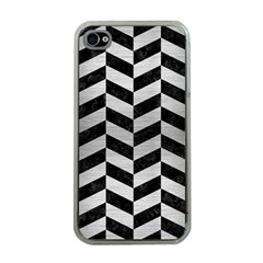 Chevron1 Black Marble & Silver Brushed Metal Apple Iphone 4 Case (clear) by trendistuff
