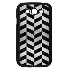 Chevron1 Black Marble & Silver Brushed Metal Samsung Galaxy Grand Duos I9082 Case (black) by trendistuff