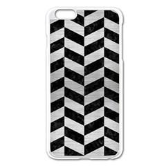 Chevron1 Black Marble & Silver Brushed Metal Apple Iphone 6 Plus/6s Plus Enamel White Case by trendistuff