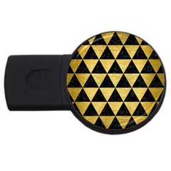 Triangle3 Black Marble & Gold Brushed Metal Usb Flash Drive Round (4 Gb) by trendistuff