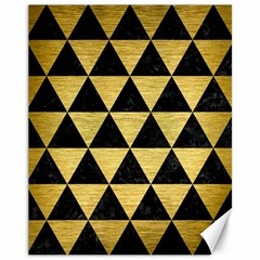 Triangle3 Black Marble & Gold Brushed Metal Canvas 11  X 14  by trendistuff