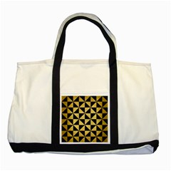 Triangle1 Black Marble & Gold Brushed Metal Two Tone Tote Bag by trendistuff