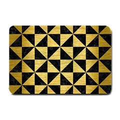 Triangle1 Black Marble & Gold Brushed Metal Small Doormat by trendistuff